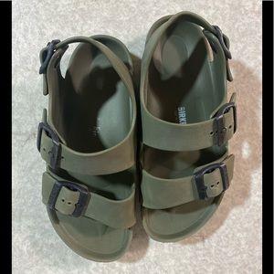 Birkenstock brand kids green sandals .